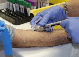 Whitehall WI phlebotomy tech with patient